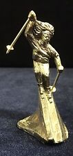 Pewter Sculpture of Downhill Skier Nathalie Bouvier by Donohue Ent. 1990