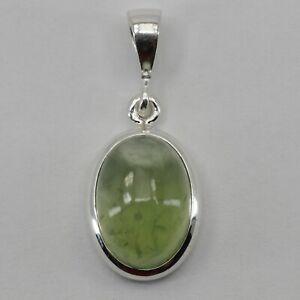 Genuine Natural Green PREHNITE  Oval Pendant 925 STERLING SILVER #11