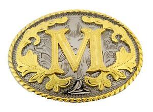 Initial Letter M Belt Buckle Western Rodeo Cowboy hebilla de cinturón inicial