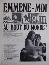 5/1969 PUB COMPAGNIE AERIENNE ALITALIA AIRLINE ITALIE ITALIA ORIGINAL FRENCH AD