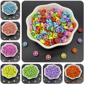 100pcs 7mm Acrylic Oval Shape Beads with Smile for Jewelry Making