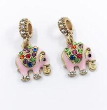 Elephant European Gold Pendant CZ Charm Beads Fit Necklace Bracelet Fashion DIY