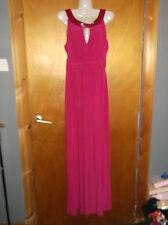 "Ariella London Sleeveless Bead Detail Prom Maxi Dress UK 8 L 60"" Hot Pink BNWoT"