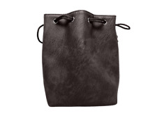 Black Leather Lite Self-Standing Large Dice Bag - No Print Design