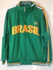 Mens 5Sun Brazil Flag Sewn Green Rugby Futbol Soccer Track Jacket Size XL