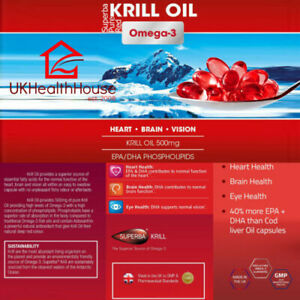 Superba Pure Red Krill Oil Capsules 500mg - All sizes - Extra High Strength