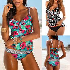 Womens Two Piece Floral Tankini Push Up Padded Swimwear Swimsuit Bathing Beach