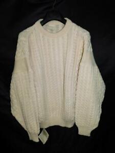 Falcara Ireland XXL 2X NWT Ivory White Wool Sweater Irish Fishermans Cable Knit