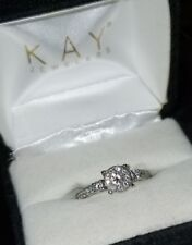 $1339-Kay Jewelers 14k White gold 5/8cttw Halo cluster Diamond Engagement ring