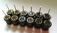 Hot Wheels Fans 5spoke Mix Chrome Long Axle Rubber Tires Lot Of 6