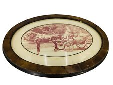 Antique DOME GLASS Picture Frame OVAL VICTORIAN STYLE Horse Taxi Valentia Comp