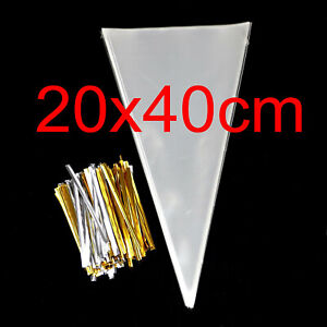 100PCS Cone Bag for Christmas Candy Popcorn Triangle Treat Bags With Twist Ties