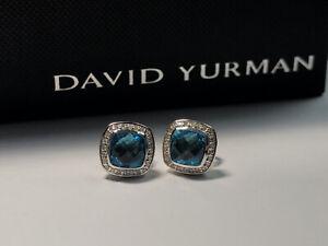David Yurman 925 Sterling Silver 7mm Blue Topaz Diamond Petite Albion Earrings