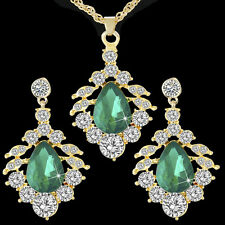 9K Gold Plated Tear Drop Emerald Crystal Necklace+earrings Wedding Jewelry Set
