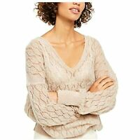 Free People Women's V-Neck Blend Open Stitch Pullover Sweater (Taupe, XL)