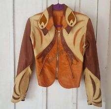 East West Musical Instruments Parrot Leather Jacket 70s Hippie RARE Tan Small S