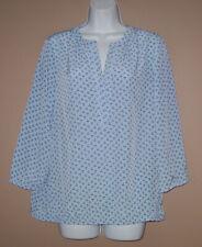 Womens Size Medium Long 3/4 Sleeve Nautical Anchor Print Fall Blouse Top Shirt