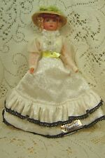 "Vintage Poupees Magali Doll White Dress Blond Hair Blue Eyes 8"" Tall"