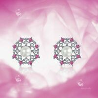 925 silver earrings simulated diamond screw back baby girl stud rose red