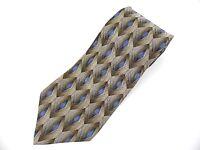 ARROW MEN'S NECKTIE TIE 100% SILK BROWN BLUE GEOMETRIC PATTERN L-58 W-4 NWOT