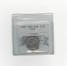 **1932 Far 2**, Coin Mart Graded Canadian, Five Cent, **F-12**
