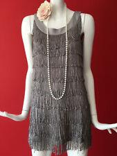 H&M Grey Flapper 1920s Gatsby Charleston Tassle Fringe Dress Size S 10-12