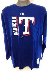 Mens Majestic Texas Rangers MLB Authentic Coll Baseball Long Sleeve Tee Shirt