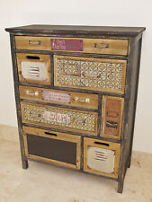 Rustic Colourful Wooden Cabinet 8 Drawer Storage Compartment Vintage Text Plates