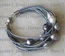 15 Reihe 11-12mm kultiviert Weiß grau schwarz Barock Süßwasser Perlen armband