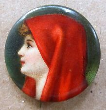 """circa 1910 large PRETTY LADY red hood tobacco 1.25"""" celluloid pinback button *"""