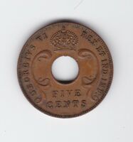 1942 East Africa Five Cents Coin S-183