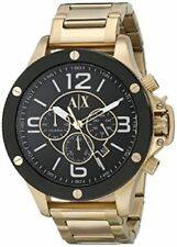 NEW ARMANI EXCHANGE MEN AX1511 CHRONO ROUND DIAL STAINLESS GOLD BAND WATCH
