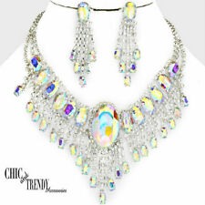 CLEARANCE AURORA  BOREALIS CRYSTAL CHUNKY FORMAL NECKLACE JEWELRY SET TRENDY