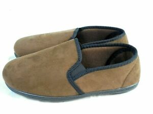MENS NEW TOP QUALITY FULL INDOOR SLIPPERS HOUSE SHOE BROWN SUDE SIZE 7 - 11