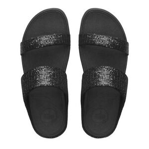 FitFlop LULU SUPERGLITZ SLIDE SANDALS BLACK SPARKLE BLING BNIB