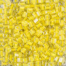 Miyuki colore Foderato Giallo 4 mm Square (Cubo) VETRO Seme Perline TUBO 20 G (B87/4)