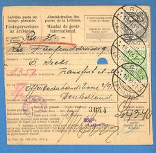 1931 LATVIA GERMANY MONEY ORDER CANCELLED RIGA TO FRANKFURT 4278