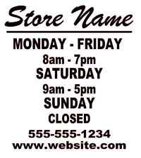"""Business Store Hours Sign Window Shop Open Closed Sticker Decal 10""""x9"""" Ver 3"""