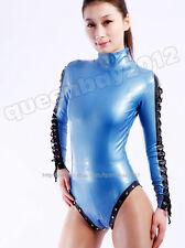 100% Latex Rubber Gummi 0.45mm Catsuit Suit Leotard Zentai Bodysuit Lace up Zip
