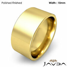 Comfort Pipe Cut Ring Men Wedding Band 10mm 14k Yellow Gold 14.2gm Size 12-12.75