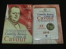 ITALIA 2010 moneta 2 EURO commemorativo 200° NASCITA CAVOUR OFFICIAL FOLDER FDC