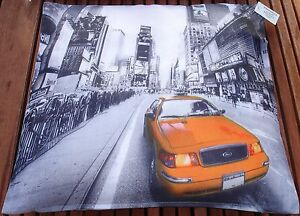 """New York Taxi Picture print 17""""x17"""" cushion cover.100% poly machine washable"""