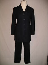 LAUREN By RALPH LAUREN Black Pinstripe Career Pants Suit  - 6 / 8 P -  EUC
