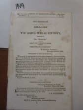 Government Report 1855 The Hermitage Resolution, Kentucky Legislature #1449