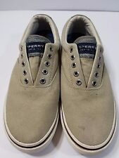 Sperry Top Sider Men's Loafers Canvas Moccasin Slip Ons Tan Casual Shoes Sz 8 M