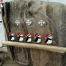 Puffins in Hats Hanging Christmas Decoration by Shoeless Joe