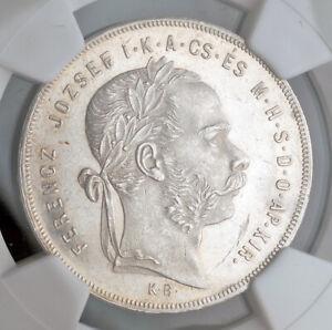 1876, Hungary, Emperor Francis Joseph I. Silver Forint (Gulden) Coin. NGC MS-63!