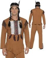 Mens Native American Warrior Red Indian Costume Adult Fancy Dress Cowboy M-XL