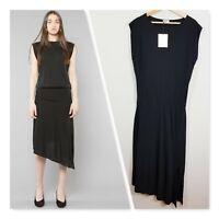 [ TOTEME ] Womens Black Drapey Slit Dress NEW RRP$600 | Size L or AU 14 / US 10