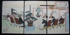1895 Original Toshiaki Japanese Woodblock Print Peace Negotiation 馬關下關條約甲午战争谈判